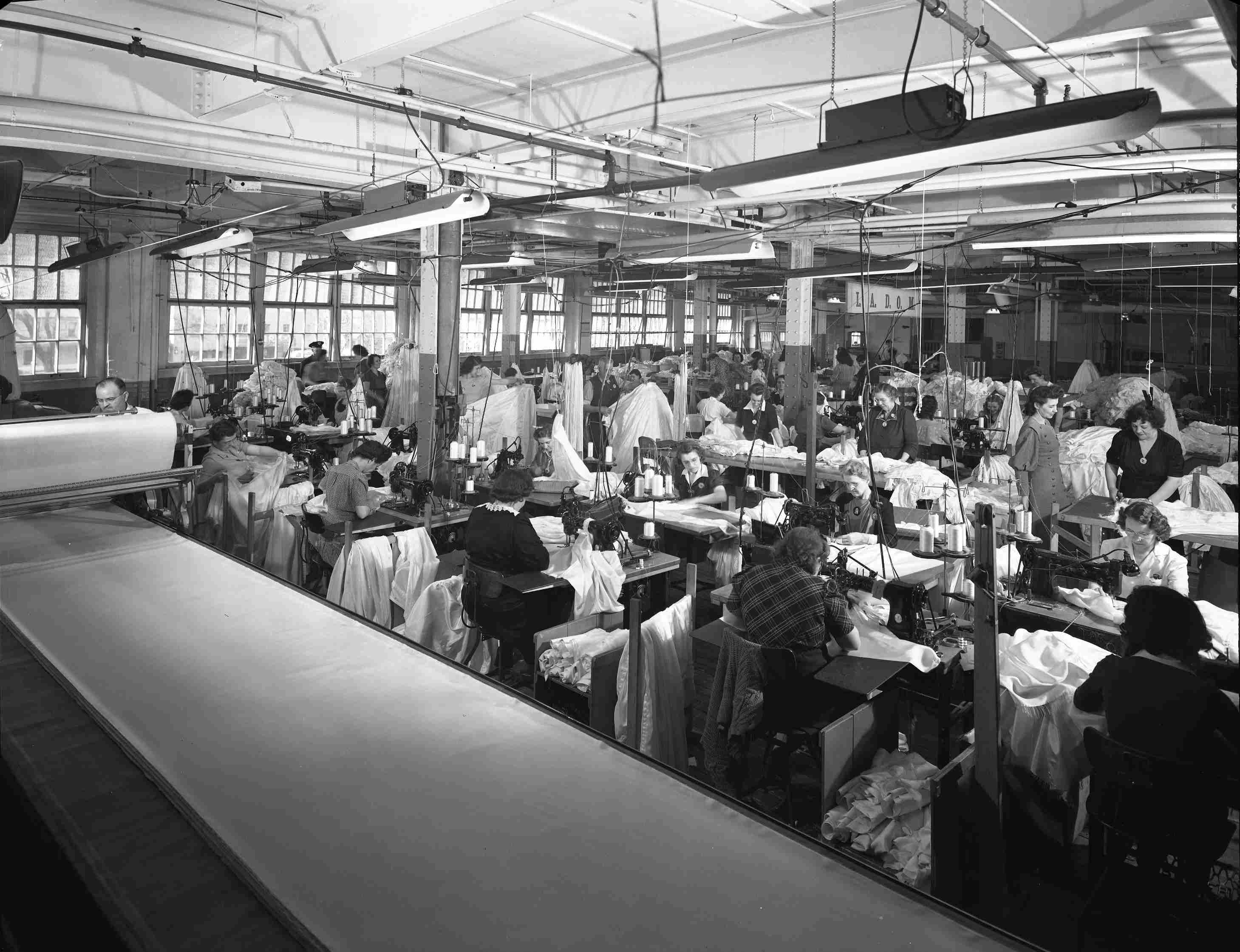 Making parachutes at the Hoover Company during World War II
